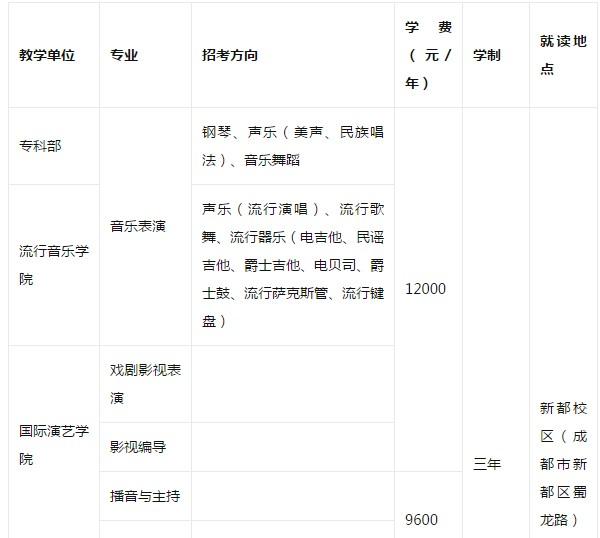 四川音乐学院 2019年省内表演专业招生简章专科层次